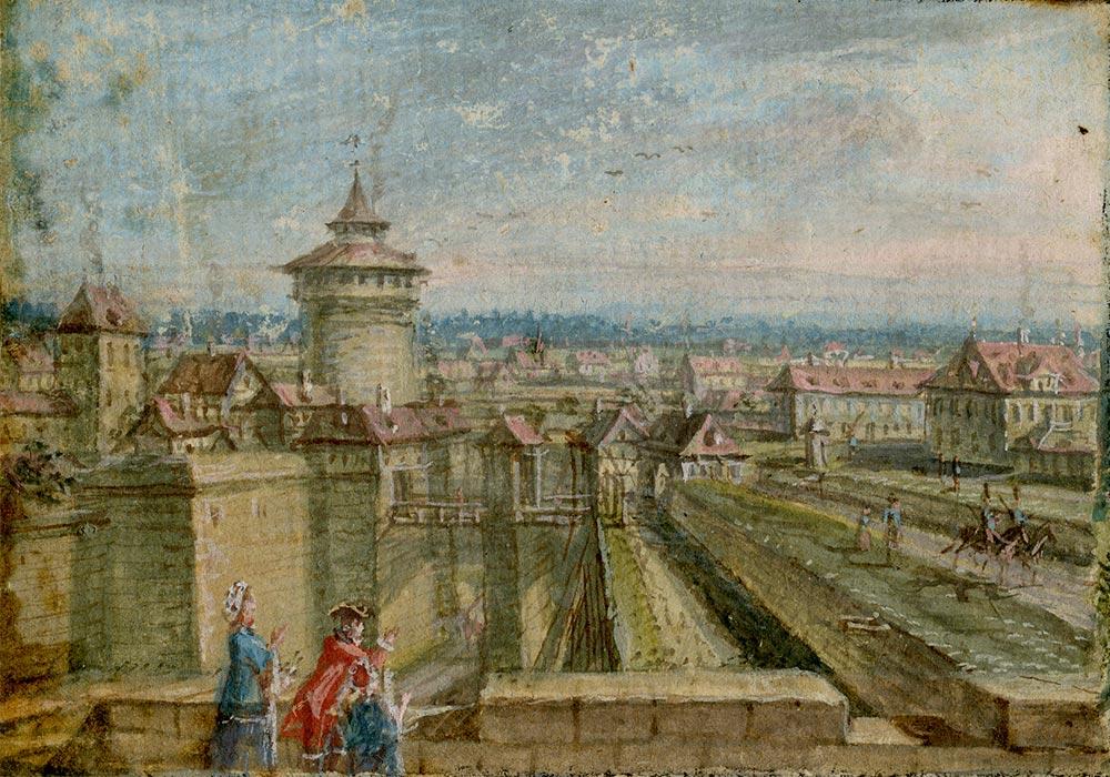 Das Neutor von der Burgbastion aus gesehen.